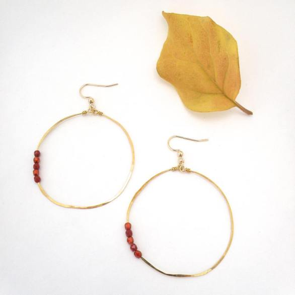 Brass Hoops with Beads